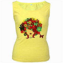 Beautiful Gothic Woman With Flowers And Butterflies Hair Clipart Women s Yellow Tank Top