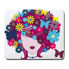 Beautiful Gothic Woman With Flowers And Butterflies Hair Clipart Large Mousepads