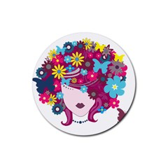 Beautiful Gothic Woman With Flowers And Butterflies Hair Clipart Rubber Round Coaster (4 Pack)  by BangZart