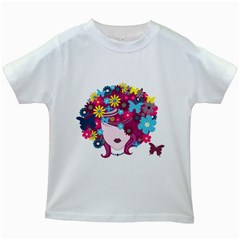 Beautiful Gothic Woman With Flowers And Butterflies Hair Clipart Kids White T Shirts