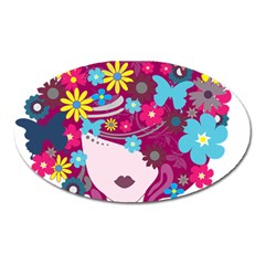 Beautiful Gothic Woman With Flowers And Butterflies Hair Clipart Oval Magnet by BangZart