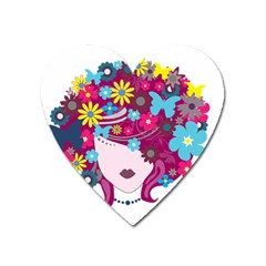 Beautiful Gothic Woman With Flowers And Butterflies Hair Clipart Heart Magnet by BangZart