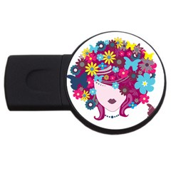 Beautiful Gothic Woman With Flowers And Butterflies Hair Clipart Usb Flash Drive Round (2 Gb) by BangZart