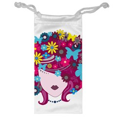 Beautiful Gothic Woman With Flowers And Butterflies Hair Clipart Jewelry Bag