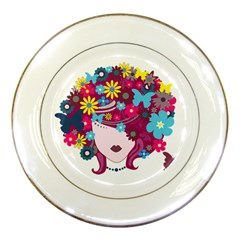 Beautiful Gothic Woman With Flowers And Butterflies Hair Clipart Porcelain Plates by BangZart