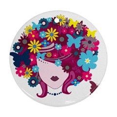 Beautiful Gothic Woman With Flowers And Butterflies Hair Clipart Round Ornament (two Sides)
