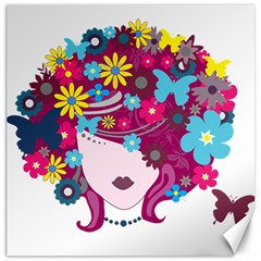 Beautiful Gothic Woman With Flowers And Butterflies Hair Clipart Canvas 16  X 16   by BangZart