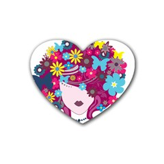 Beautiful Gothic Woman With Flowers And Butterflies Hair Clipart Rubber Coaster (heart)  by BangZart