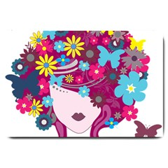 Beautiful Gothic Woman With Flowers And Butterflies Hair Clipart Large Doormat  by BangZart