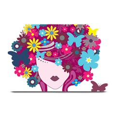 Beautiful Gothic Woman With Flowers And Butterflies Hair Clipart Plate Mats by BangZart