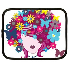 Beautiful Gothic Woman With Flowers And Butterflies Hair Clipart Netbook Case (large) by BangZart