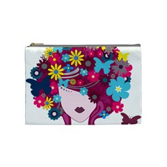 Beautiful Gothic Woman With Flowers And Butterflies Hair Clipart Cosmetic Bag (medium)