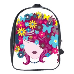 Beautiful Gothic Woman With Flowers And Butterflies Hair Clipart School Bags(large)