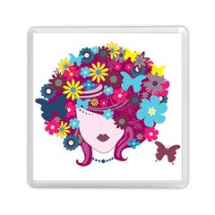 Beautiful Gothic Woman With Flowers And Butterflies Hair Clipart Memory Card Reader (square)  by BangZart