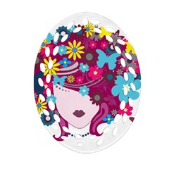 Beautiful Gothic Woman With Flowers And Butterflies Hair Clipart Ornament (oval Filigree) by BangZart