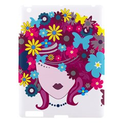 Beautiful Gothic Woman With Flowers And Butterflies Hair Clipart Apple Ipad 3/4 Hardshell Case by BangZart