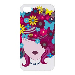 Beautiful Gothic Woman With Flowers And Butterflies Hair Clipart Apple Iphone 4/4s Premium Hardshell Case by BangZart