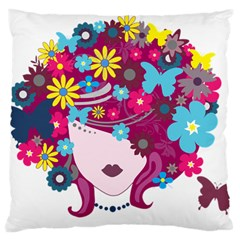 Beautiful Gothic Woman With Flowers And Butterflies Hair Clipart Large Cushion Case (one Side) by BangZart