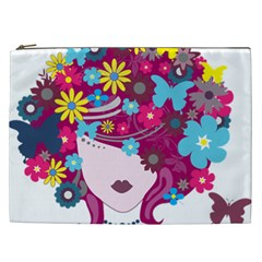 Beautiful Gothic Woman With Flowers And Butterflies Hair Clipart Cosmetic Bag (xxl)