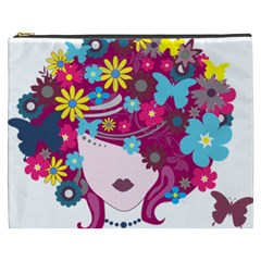 Beautiful Gothic Woman With Flowers And Butterflies Hair Clipart Cosmetic Bag (xxxl)