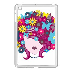 Beautiful Gothic Woman With Flowers And Butterflies Hair Clipart Apple Ipad Mini Case (white) by BangZart