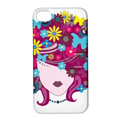 Beautiful Gothic Woman With Flowers And Butterflies Hair Clipart Apple Iphone 4/4s Hardshell Case With Stand