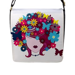 Beautiful Gothic Woman With Flowers And Butterflies Hair Clipart Flap Messenger Bag (l)