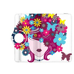 Beautiful Gothic Woman With Flowers And Butterflies Hair Clipart Kindle Fire Hdx 8 9  Flip 360 Case by BangZart