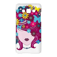 Beautiful Gothic Woman With Flowers And Butterflies Hair Clipart Samsung Galaxy A5 Hardshell Case