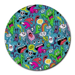 Monster Party Pattern Round Mousepads