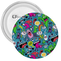 Monster Party Pattern 3  Buttons