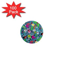 Monster Party Pattern 1  Mini Magnets (100 Pack)