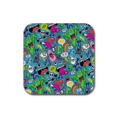 Monster Party Pattern Rubber Coaster (square)