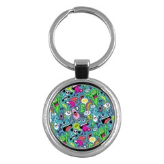 Monster Party Pattern Key Chains (round)