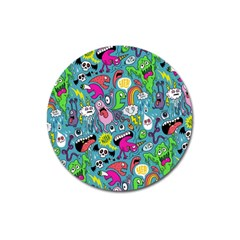 Monster Party Pattern Magnet 3  (round) by BangZart