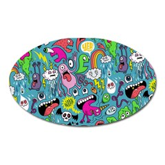 Monster Party Pattern Oval Magnet