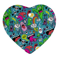Monster Party Pattern Heart Ornament (two Sides) by BangZart