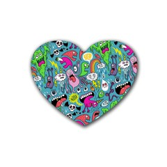 Monster Party Pattern Heart Coaster (4 Pack)