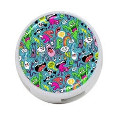 Monster Party Pattern 4 Port Usb Hub (two Sides)