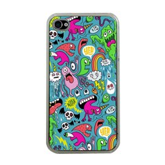 Monster Party Pattern Apple Iphone 4 Case (clear)