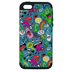 Monster Party Pattern Apple Iphone 5 Hardshell Case (pc+silicone) by BangZart