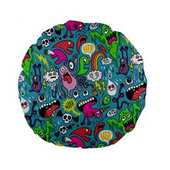 Monster Party Pattern Standard 15  Premium Round Cushions by BangZart