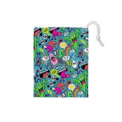 Monster Party Pattern Drawstring Pouches (small)  by BangZart