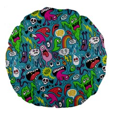 Monster Party Pattern Large 18  Premium Flano Round Cushions by BangZart