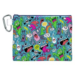 Monster Party Pattern Canvas Cosmetic Bag (xxl) by BangZart
