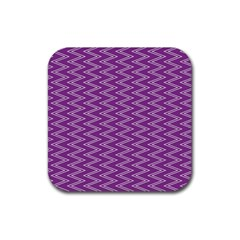 Zig Zag Background Purple Rubber Square Coaster (4 Pack)  by BangZart