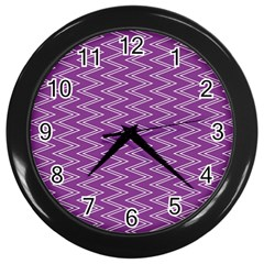 Zig Zag Background Purple Wall Clocks (black) by BangZart