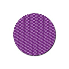 Zig Zag Background Purple Rubber Coaster (round)  by BangZart
