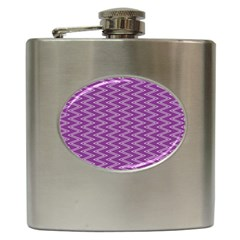 Zig Zag Background Purple Hip Flask (6 Oz)