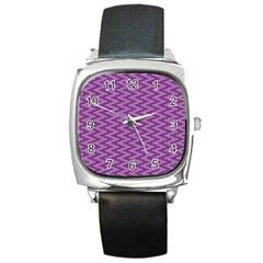 Zig Zag Background Purple Square Metal Watch